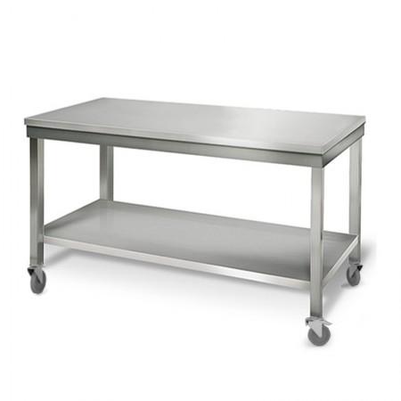 Table inox 1600 x 700 mm sur roulettes / GOLDINOX