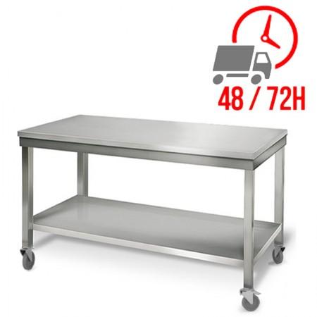 Table inox 1600 x 700 mm sur roulettes / RESTONOBLE
