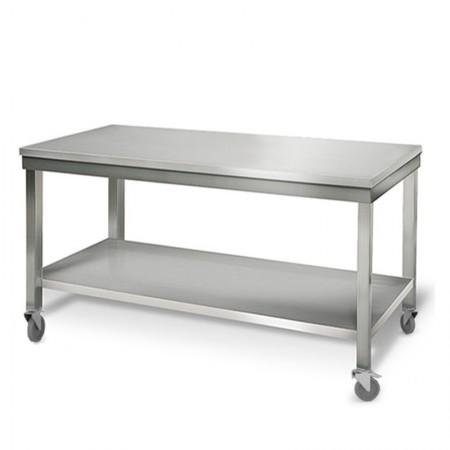 Table inox 1800 x 700 mm sur roulettes / GOLDINOX