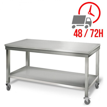Table inox 1800 x 700 mm sur roulettes / RESTONOBLE