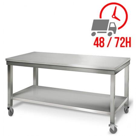 Table inox 2000 x 700 mm sur roulettes / RESTONOBLE
