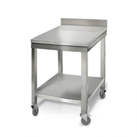 Table inox 600 x 700 mm adossée sur roulettes / RESTONOBLE