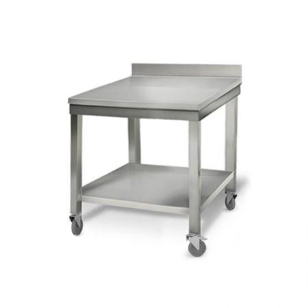 Table inox 700 x 700 mm adossée sur roulettes / RESTONOBLE