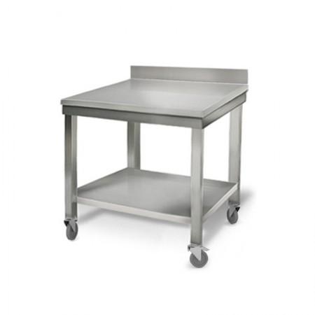Table inox 800 x 700 mm adossée sur roulettes / RESTONOBLE