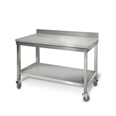 Table inox 1000 x 700 mm adossée sur roulettes / GOLDINOX