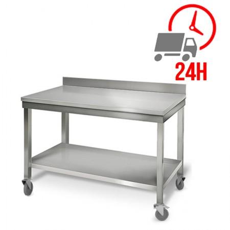 Table inox 1000 x 700 mm adossée sur roulettes / RESTONOBLE