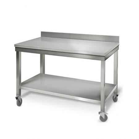 Table inox 1200 x 700 mm adossée sur roulettes / GOLDINOX