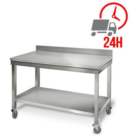 Table inox 1200 x 700 mm adossée sur roulettes / RESTONOBLE