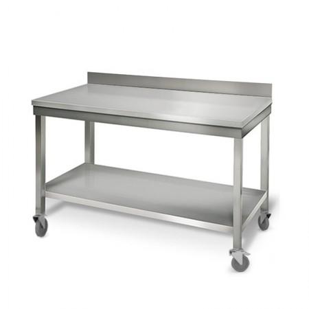 Table inox 1400 x 700 mm adossée sur roulettes / GOLDINOX
