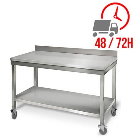 Table inox 1400 x 700 mm adossée sur roulettes / RESTONOBLE