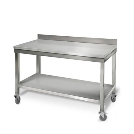 Table inox 1500 x 700 mm adossée sur roulettes / GOLDINOX