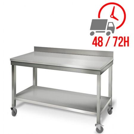 Table inox 1500 x 700 mm adossée sur roulettes / RESTONOBLE