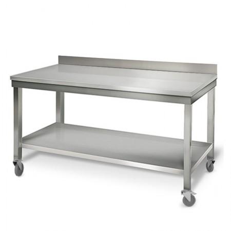 Table inox 1800 x 700 mm adossée sur roulettes / GOLDINOX