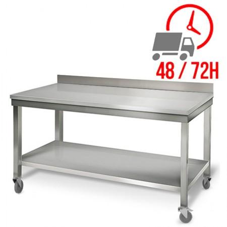 Table inox 1800 x 700 mm adossée sur roulettes / RESTONOBLE