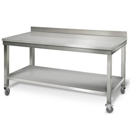 Table inox 2000 x 700 mm adossée sur roulettes / GOLDINOX
