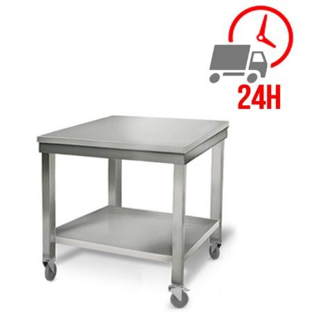 Table inox 700 x 800 mm sur roulettes / RESTONOBLE