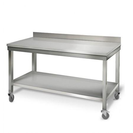 Table inox 1600 x 700 mm adossée sur roulettes / GOLDINOX