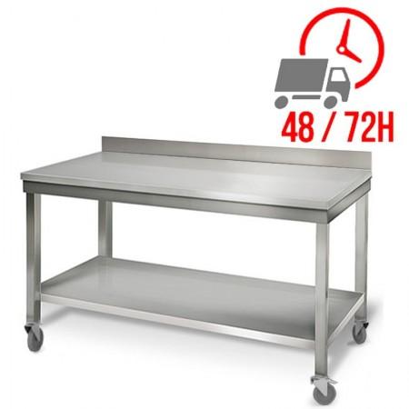 Table inox 1600 x 700 mm adossée sur roulettes / RESTONOBLE