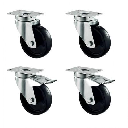 Kit roulettes pour meuble bas - 4 Roues dont 2 avec freins / RESTONOBLE