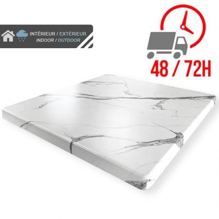 Plateau de table 60x60 cm stratifié - Blanc Marbre / RESTONOBLE