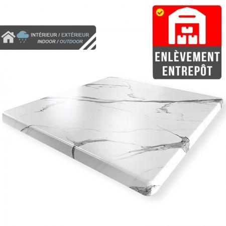 Plateau de table 60x60 cm stratifié - Blanc Marbre / RESTONOBLE | Enlèvement entrepôt
