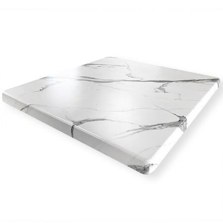 Plateau de table 70x70 cm stratifié - Blanc Marbre / RESTONOBLE