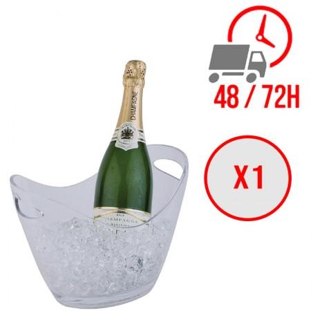 Seau à vin ou champagne transparent pour 2 bouteilles / APS