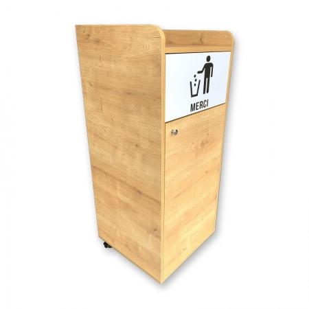 Poubelle snack en bois chêne clair 100L | Enlèvement Entrepôt