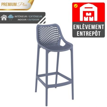 Chaise de bar Elif - Gris / RESTONOBLE | Enlèvement entrepôt