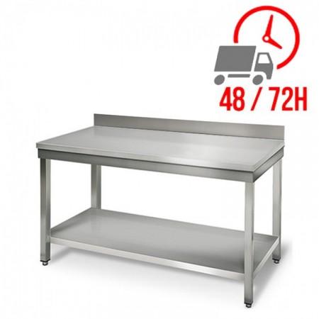 Table inox 1200 x 700 mm adossée / RESTONOBLE