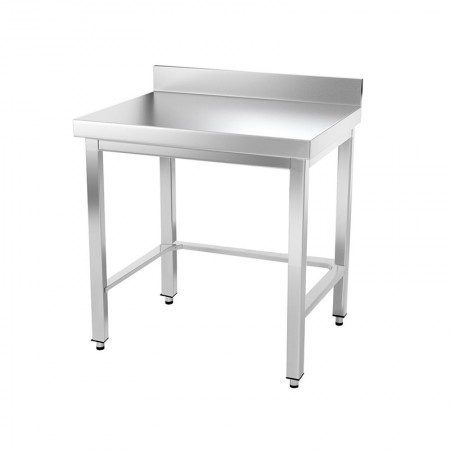 Table inox 800 x 500 mm adossée avec renfort / GOLDINOX