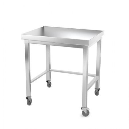 Table inox 800 x 500 mm avec renfort sur roulettes / GOLDINOX