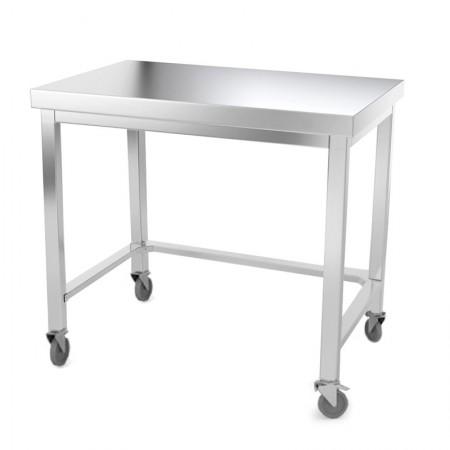 Table inox 1200 x 500 mm avec renfort sur roulettes / GOLDINOX