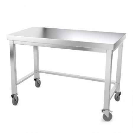 Table inox 1400 x 500 mm avec renfort sur roulettes / GOLDINOX