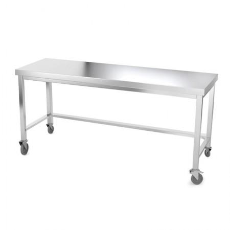 Table inox 2000 x 500 mm avec renfort sur roulettes / GOLDINOX