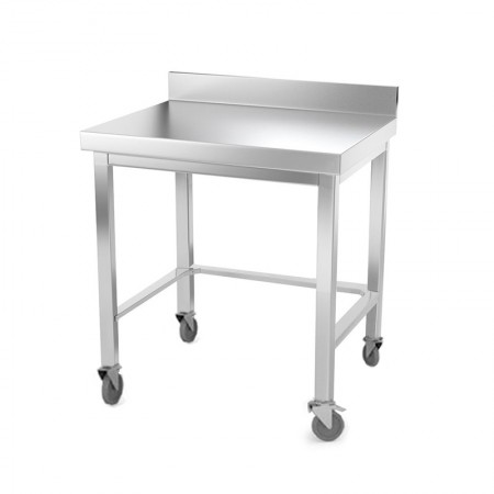 Table inox 500 x 500 mm adossée avec renfort sur roulettes / GOLDINOX