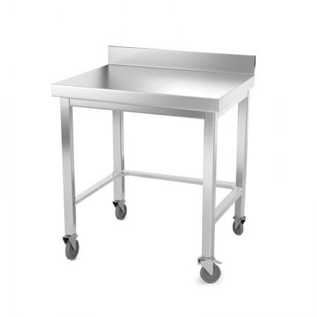 Table inox 800 x 500 mm adossée avec renfort sur roulettes / GOLDINOX