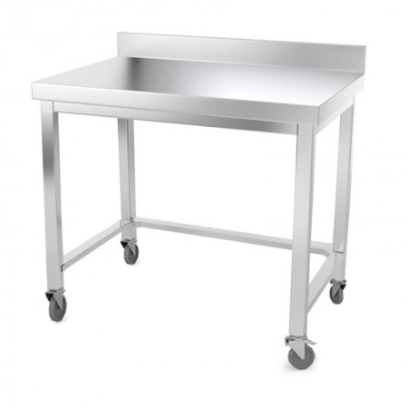 Table inox 1000 x 500 mm adossée avec renfort sur roulettes / GOLDINOX