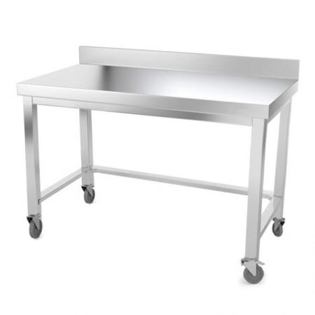 Table inox 1400 x 500 mm adossée avec renfort sur roulettes / GOLDINOX