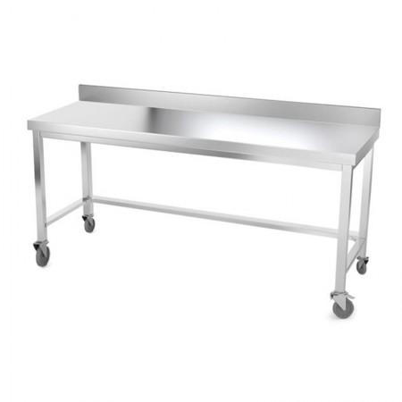Table inox 1800 x 500 mm adossée avec renfort sur roulettes / GOLDINOX