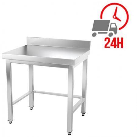 Table inox 600 x 600 mm adossée avec renfort / GOLDINOX