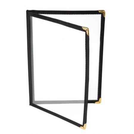 10 x Porte-menus Noir - Style américain - 4 VUES A5