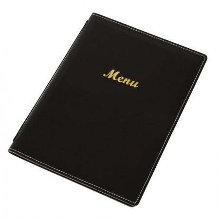 10 x Porte-menus en simili cuir - Noir - A4