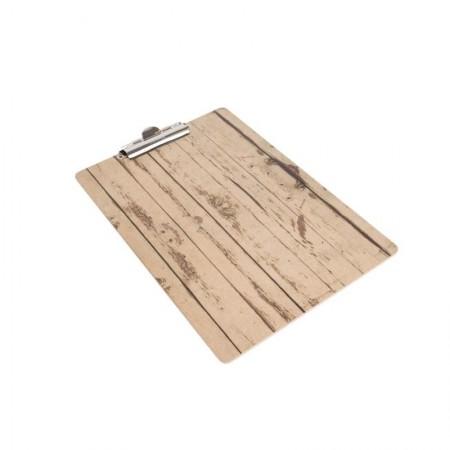 5 x Plaques porte-menu effet bois - A4