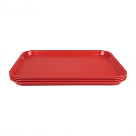 Plateau de service rouge 345x265mm - LOT DE 30