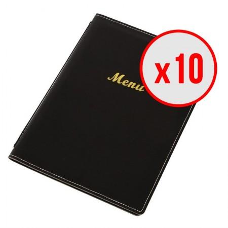 Porte-menus en simili cuir - Noir - A4