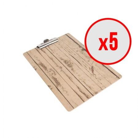 Plaque porte-menu effet bois - A4