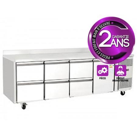 Table réfrigérée 700 / 1 porte + 6 tiroirs adossée