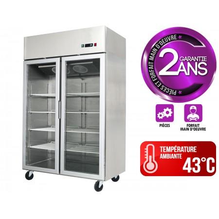 Réfrigérateur inox 1300 L / Tropicalisé / 2 portes vitrées