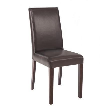 Chaise similicuir / Dossier haut - marron foncé (LOT DE 2)